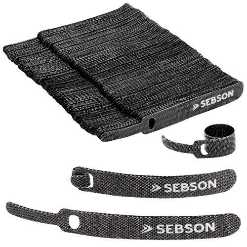 SEBSON Bridas Cables Reutilizable Negra Juego de 100-12mm Ancho; 100mm Largo - Organizador Cables Resellable, Abrazadera Cable
