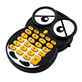 uxcell 8 Digits Mini Owl Calculator, Black/White/Yellow