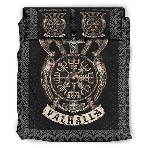 Lind88 Juego de 4 fundas de edredón Viking Shield, funda de almohada y edredón – suave y fácil cuidado ropa de cama, 240 x 264 cm, color blanco