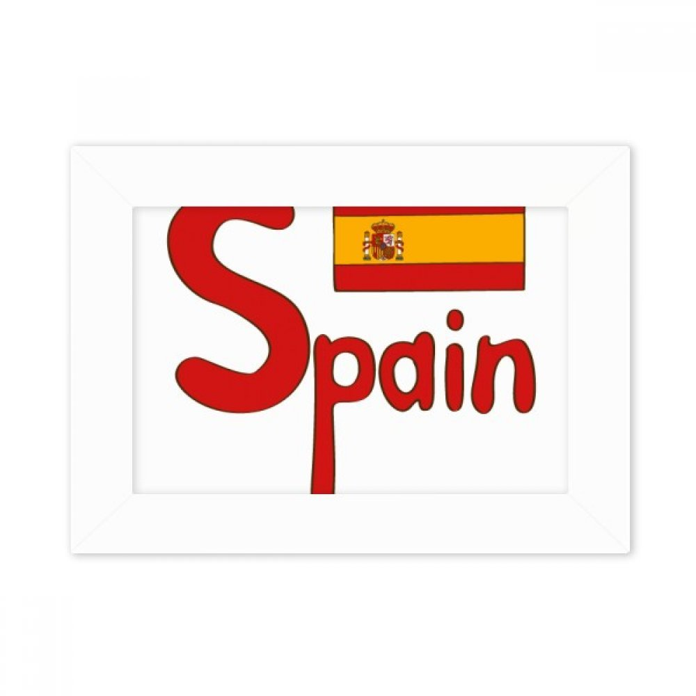 DIYthinker España Bandera Nacional del Modelo Rojo del Marco de Escritorio Foto Arte Cuadro Blanco Pintura 5X7 Pulgadas: Amazon.es: Hogar