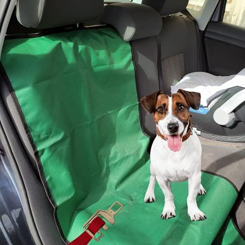 Set de Funda Protectora de Asientos Individual y Enganche cinturón de Seguridad para Perros para el Coche (Pack 2 x 1) (Verde)