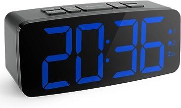 "HAPTIME Digital Alarm Clock Radio: 6.2"" Large LED Display with 4 Brightness Dimmer, Dual Alarms, Snooze, 12/24H, FM Radio ..."
