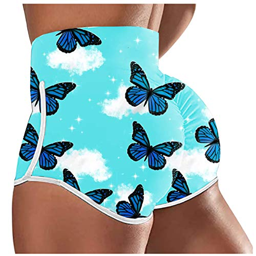 Cerlemi Damen Print Shorts Sexy Slim Hotpants Yogahose Joggen Fitness Übung Sport Casual Jogginghose Kurze Hose Freizeithosen Leggings Unterhosen Sommershorts Schlafanzughose