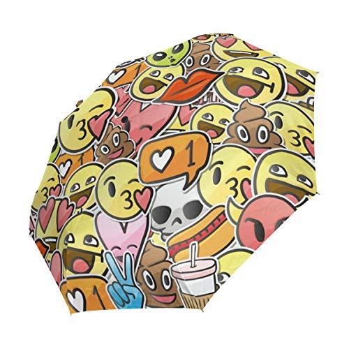Ieararfre Regenschirm mit niedlichem Emoji-Muster, kompakter Reise-Regenschirm, Winddicht, wasserdicht, automatisches Öffnen und Schließen