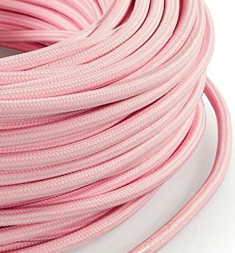 Cable eléctrico de tela redondo redondo estilo vintage recubrimiento Multicolor Rosa Pastel h03vv-f sección 3x 0,75para lámparas, lámparas, abat Jour, diseño. Made in Italy