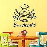 wZUN Bon Appetite Frases Famosas Restaurante Etiqueta de la Pared Etiqueta de la Cocina Decoración del hogar Mural Vinilo Etiqueta Cartel Decoración 87x87cm