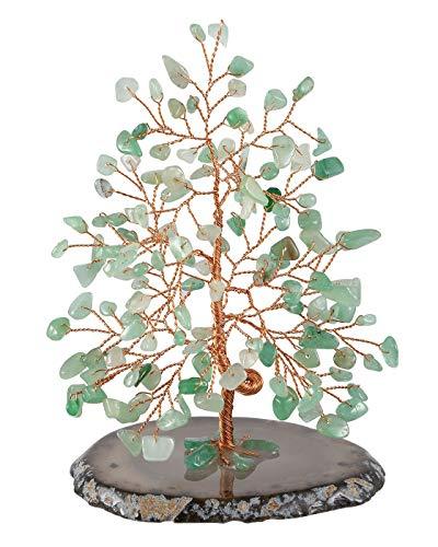 Parte Superior Plaza Chakra Cristales curativos de Cobre árbol de Dinero Envuelto en rodajas de ágata Natural geoda Base Luck Reiki Feng Shui Figura Estatua, Verde (Green Aventurine)