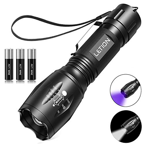 LETION LED Torch, UV Light 2 in 1 UV Torch Black Light Flashlight with 500LM Highlight & 4 Mode & Waterproof IPX 4 for Pet Clothing Food Fungus Detection/Night Fishing/Travel