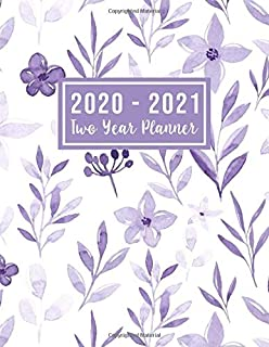 2020-2021 Two Year Planner: 2020-2021 two year planner flower watecolor cover | Jan 2020 - Dec 2021 | 24 Months Agenda Planner with Holiday | Personal ... for mom (2 year monthly planner 2020-2021)