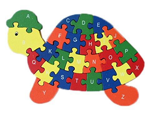 Bigood Puzzle Jouet Enfant Bébé en Bois Alphabet Chiffre Cognition Préscolaire Tortue Cadeau