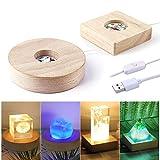LET'S RESIN LED Lights Display Base 2PCS Wooden Lighted Base Stand for Laser Crystal Glass Resin Art