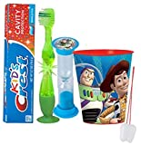 Toy Story 'Buzz Lightyear' Inspired 4pc Bright Smile Oral Hygiene Set! Flashing Lights Toothbrush, Toothpaste, Brushing Timer & Mouthwash Rinse Cup! Plus Bonus 'Remember To Brush' Visual Aid!