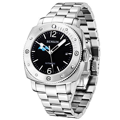 BINLUN Herren Automatische Mechanische Uhr Wasserdicht Edelstahl Armbanduhren für Herren Geschenk zum Valentinstag