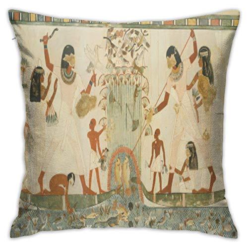 Funda de cojín suave con diseño de escena de Egipto antiguo, funda de almohada decorativa, moderna, cuadrada, decoración del hogar, coche, 40,6 x 40,6 cm