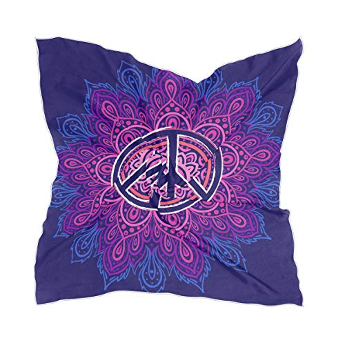 LZXO Damen Schal Peace Symbol Mandala Blume Quadratischer Schal Kopfschmuck Kopftuch Kopftuch Leichtes Halstuch Stirnband mit 10 x Bobby Pins - 60 x 60 cm