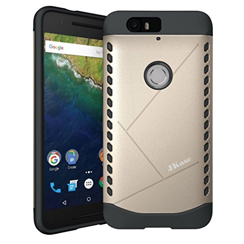Huawei Nexus 6P Hülle, JKase Canvas Dual Layer Rüstung Case Hülle TPU Innencase für Huawei Nexus 6P (Gold)