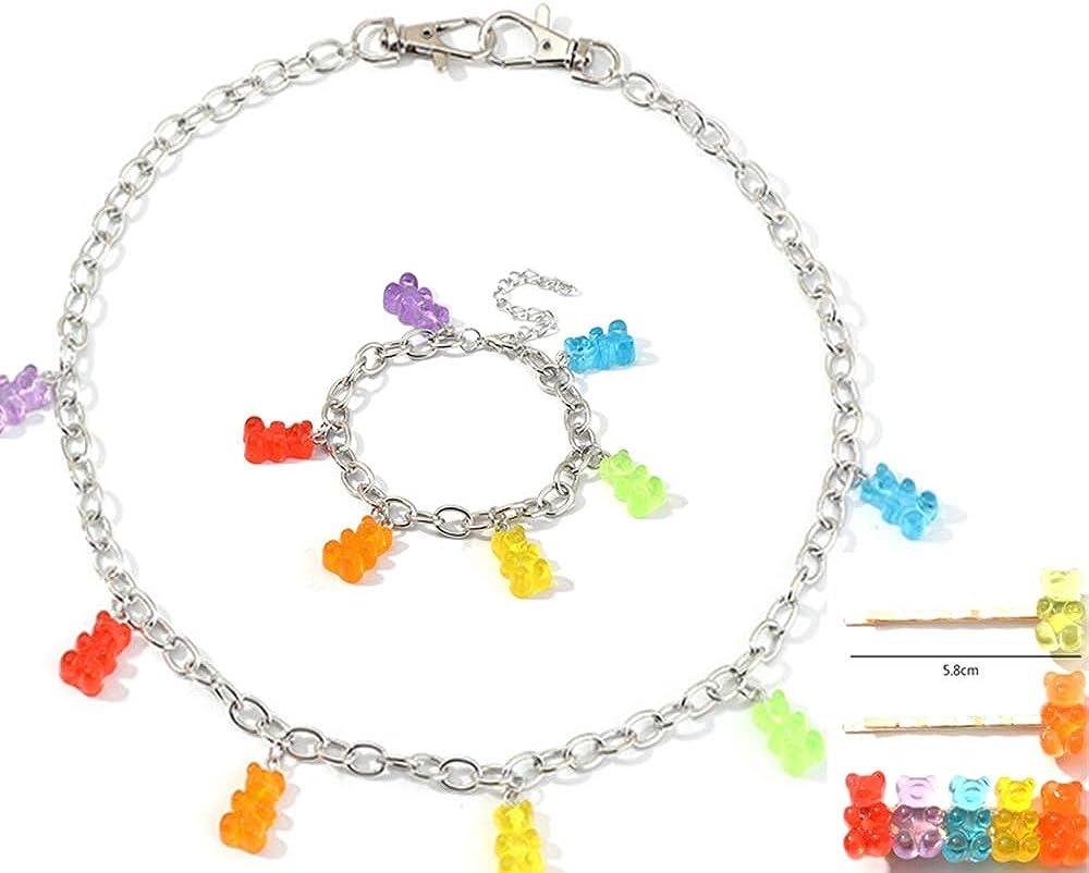Gummy Bear Necklace Bracelet Hair clip Set Colorful Resin Crazy Aesthetic Pendant Necklace for Girls Women