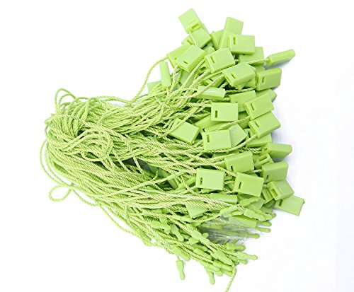Trimming Shop 17,8cm (18cm) lungo, pezzi bianco nylon string cartellini di fissaggio con chiusura a scatto per etichette, vestiti, gioielli, bagagli e per ottenere prodotti Green