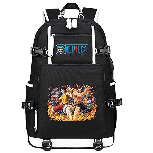 ZZGOO-LL One Piece Monkey·D·Luffy/Portgas·D· Ace Anime Backpack Middle Student School Rucksack Daypack for Women/Men with USB-A