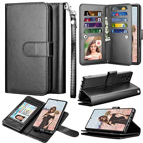 Takfox Galaxy Note 10 Plus Wallet Case, Galaxy Note 10 Plus 5G Case PU Leather Wallet Flip with 9 Card Slots/Holder[Wrist Strap] Magnetic Detachable Wallet Case for Samsung Galaxy Note 10 Plus-Black