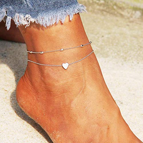 Simsly Fashion Beach Anklet Silver Ankle Bracelet Heart Foot Chain Accessories Adjustable for Women and Girls