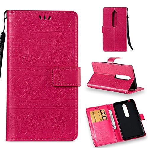 LMFULM® Hülle für Nokia 6.1 / Nokia 6 2018 (5,5 Zoll) PU Leder Magnet Brieftasche Lederhülle Elefant Prägung Design Stent-Funktion Handyhülle für Nokia 6.1 / Nokia 6 2018 Rose Carmine