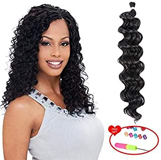 UNA 18inch Ocean Wave Crochet Braids (36strands/Piece Folded, 4Pieces /Pack) Synthetic Crochet Hair Extension (1B#)