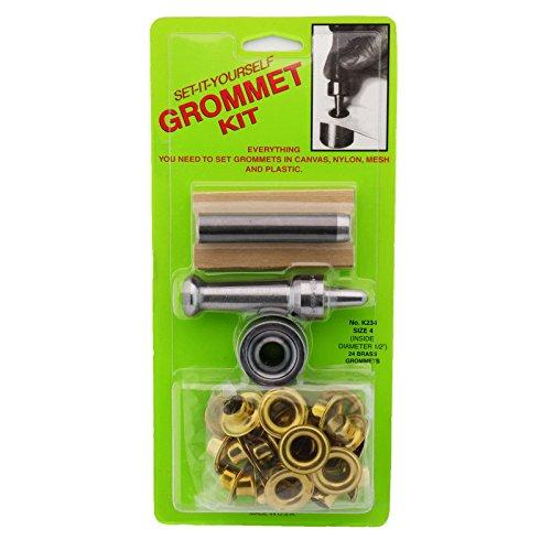 C.S. Osborne Set-It-Yourself Grommet Kit K234-4, 1/2' Hole, W/Brass Grommets