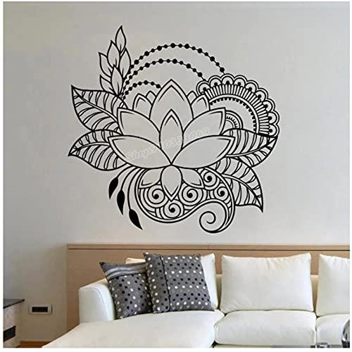 WYLYSD Lotus Mandala Calcomanías De Pared Mehndi Yoga Studio Decoración De La Pared Bohemia India Pared Calcomanía Hogar Dormitorio Decoración 57X58Cm