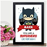 Personalised Valentines Day Gifts for Him Boyfriend Husband Superhero - PERSONALISED ANY NAMES for Anniversary, Birthday - Black or White Framed A5, A4, A3 Prints or 18mm Wooden Blocks