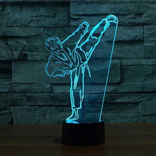 EUpMB 3D Illusion Lampe,LED Nachtlicht,7 Farben Touch Changing dekorative Schreibtischlampe,USB-Ladegerät,als DekoWohnzimmer Schlafzimmer,und SchönGeburtstag Geschenke.-Karate Taekwondo Nachtlicht