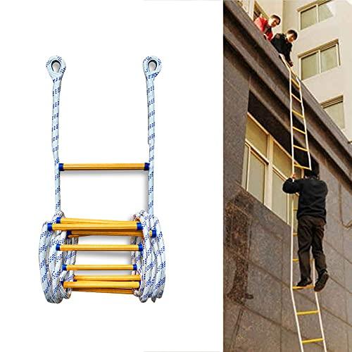 Yclty Escape De Incendio,Escalera De Cuerda De Emergencia Seguridad De Emergencia con Ganchos para Rescate Desplegar Rápidamente En Incendios(3M-50M),El tamaño se Puede Personalizar