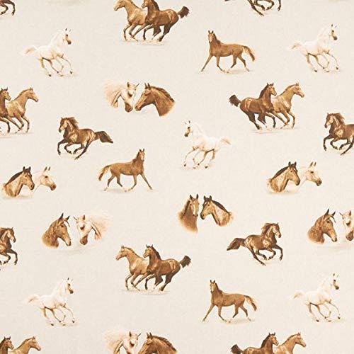 Dekostoff Halbpanama Pferde — Meterware ab 0,5m — zum Nähen von Kinder Deko, Babydekoration & Kissen/Tagesdecken