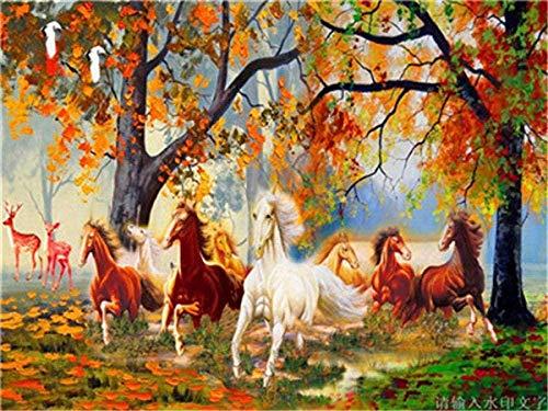 Pintura por números para adultos, diseño de caballo del bosque, moderno pop pintura por número, cuadro de pared para decoración del hogar, 40 x 50 cm, sin marco