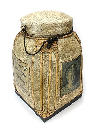 Graines de riz Thaï Boîte Panier avec couvercle en bambou laqué ? Très grand 62 cm de haut ? cmrb01