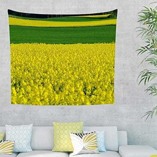 Gamoii Tela de pared con diseño de flores amarillas para colgar en la pared, ideal para picnic, playa, yoga, cama, dormitorio, sofá, funda blanca de 150 x 150 cm