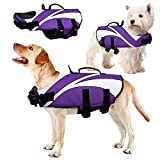 IDOMIK Dog Life Jacket Vest, Ripstop Pets Floatation Lifesaver Puppy Reflective Safety Swimsuit Preserver, Adjustable Life Coat with Rescue Handle for Small Medium Large Dogs Swimming Surfing Boating