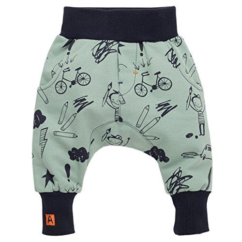 Pinokio - Xavier - Baby Hose 100% Baumwolle, türkis mit lustigen Schulmotiven - Jogginghose, Haremshose Pumphose Schlupfhose- elastischer Bund, Jungen (86)