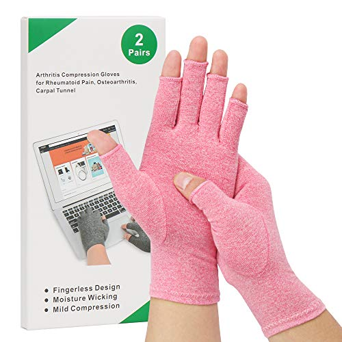 2-Pair Arthritis Compression Gloves for Alleviate Rheumatoid Osteoarthritis, Carpal Tunnel Raynauds Disease, Ease Muscle Tensi on Fingerless, Breathable & Moisture, Women and Men (Pink, Medium)
