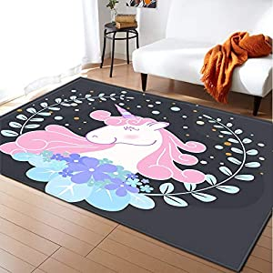 17 Styles Unicorn 3D Printed Child Carpets for Living Room Bedroom Decor Carpet Kids Room Play Soft Rug Baby Crawl Antiskid Mats (Color : 7, Size : 160x230cm)