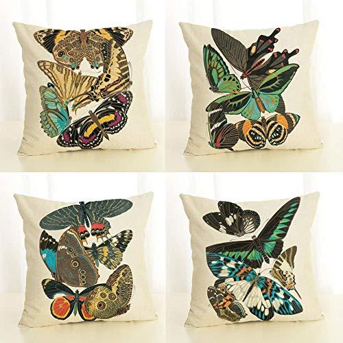 LYTFQ Cojín Cubierta Cojines Decorativos Funda De Cojín De Insectos para Sofás Y Camas De Salones Y Habitaciones 4 Piezas 45X45Cm