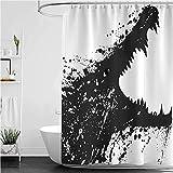 lovedomi Duschvorhang, Krokodil-Bild mit Grunge-Malerei, Wasserfestes Polyester, 183 x 183 cm, Schwarz / Weiß