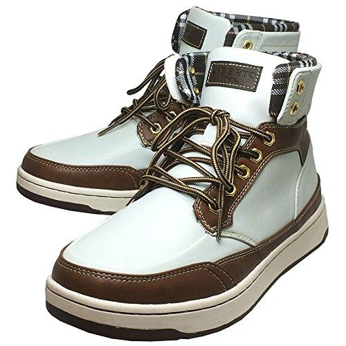 [エドウィン] 防水 メンズブーツ レインシューズ スノーブーツ スニーカー 靴 (ホワイト/キャメル,25cm)