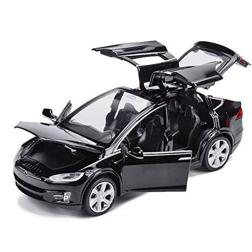 EisEyen Tesla Model X 90 - Coche de juguete, escala 1:32, aleación, con sonido y luz, para niños, las puertas se abren