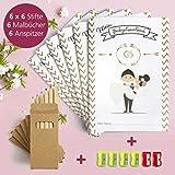 WeddingTree Malbuch Hochzeit für Kinder mit Buntstifte und Anspitzer - Gastgeschenke Hochzeit Kinder - Beschäftigung Hochzeit für Kinder - Hochzeitsmalbuch für Kinder - 2