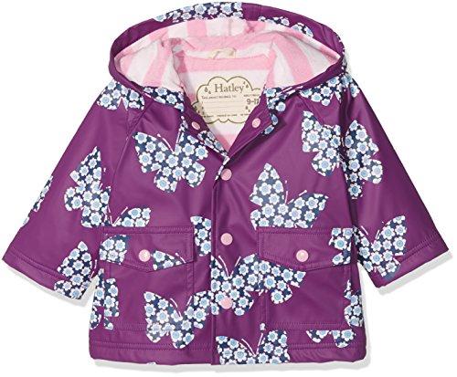 Hatley Mini Printed Raincoats Manteau Imperméable, Purple (Butterflies and Buds), 24 Mois Bébé Fille