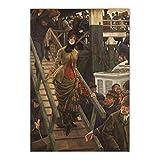 Lefgnmyi James Tissot 《Embarque en Calais》 Lienzo Pintura al óleo Obra de arte Impresión Póster Imagen Decoración de la pared Decoración de la sala de estar del hogar-24x32 IN Sin marco