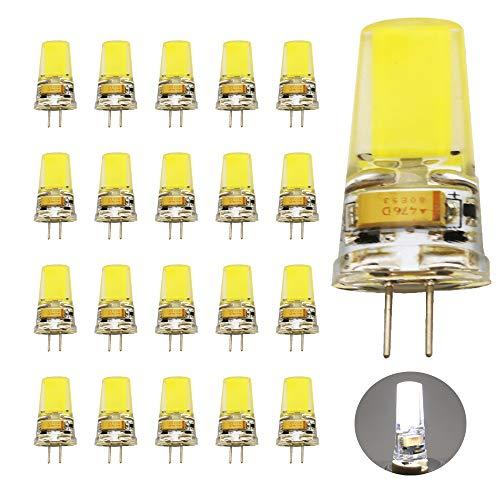 LED G4 12V, COB Leuchtmittel 6000K Kaltweiß 3.5W 400LM, Ersatz für 40W Halogenlampen, 360° Abstrahlwinkel 20er Pack
