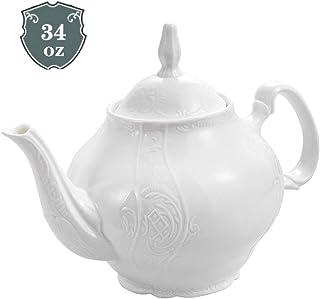Eileen's Reserve Fine Porcelain White Teapot with Sculpture Surface, Light Weight, 34 Ounces