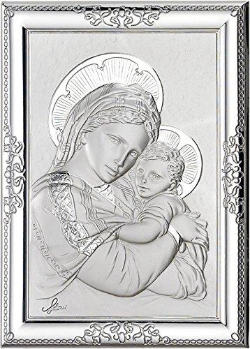 Ferrari & Arrighetti Cuadro de la Virgen María con el Niño Jesús de Plata 925 y Madera - 17 x 13 cm